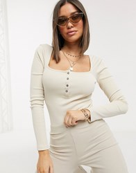 Na Kd Organic Cotton And Recycled Polyester Ribbed Button Detail Body In Beige