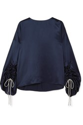 Hillier Bartley Ruched Metallic Silk Satin Top Navy