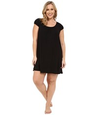 Dkny Plus Size Urban Essentials Cap Sleeve Short Sleepshirt Black Women's Pajama