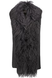 Haute Hippie Shearling Trimmed Ribbed Merino Wool Vest Charcoal