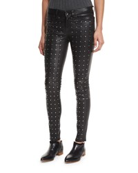 Rag And Bone Hyde Studded Leather Skinny Jeans Black Leat