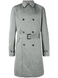 Jil Sander Double Breasted Trench Coat Men Polyester 52 Grey