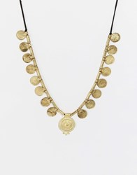 Glamorous Coin Statement Necklace Gold