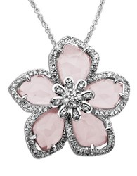 Lord And Taylor Rose Quartz Diamond Accented Necklace In Sterling Silver