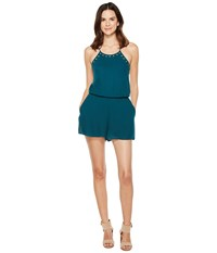 Brigitte Bailey Brooklynn Spaghetti Strap Romper With Grommets Forest Green Women's Jumpsuit And Rompers One Piece