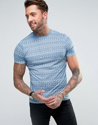 Another Influence Aztec Print T Shirt Blue