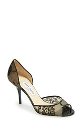 Women's Jimmy Choo 'Lien' Lace Open Toe D'orsay Pump Black