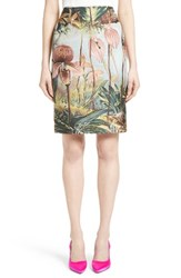 Adam By Adam Lippes Women's Orchid Print Jacquard Pencil Skirt Multi