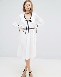 Lost Ink Contrast Trim Dress With Frill Detail White