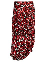 Marni Shatter Print Sable Midi Skirt Red Multi
