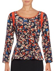 Tracy Reese Silk Peplum Top Floral