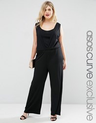 Asos Curve Wide Leg Jumpsuit In Crepe Black