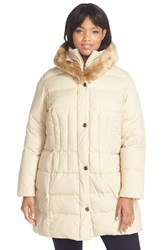 Plus Size Women's Larry Levine Faux Fur Trim Down And Feather Fill Parka