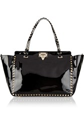 Valentino Studded Patent Leather Tote Black