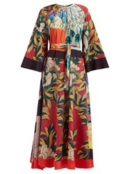Etro Floral Print Silk Crepe De Chine Maxi Dress Multi