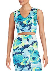 Saks Fifth Avenue Red Watercolor Floral Print Scuba Crop Top Blue