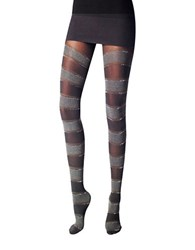 Versace Lurex Heather Striped Tights Black