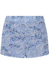 Equipment Landis Floral Print Washed Silk Shorts Blue