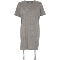 River Island Grey Eyelet Lace Up Hem Oversized T Shirt