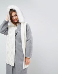 Urbancode Oversized Knitted Scarf With Faux Fur Trim Hood Cream