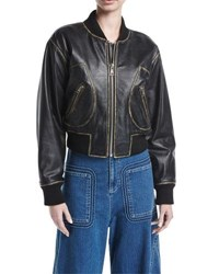 See By Chloe Zip Front Long Sleeve Leather Jacket Black