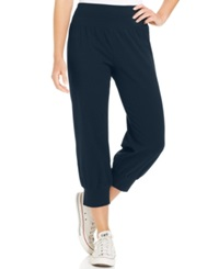 Style And Co. Petite Knit Jogger Capri Pants Industrial Blue