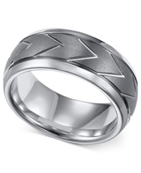 Triton Men's Classic Tungsten Ring 8Mm Chevron Wedding Band