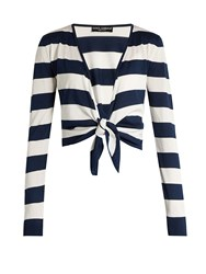 Dolce And Gabbana Waist Tie Striped Silk Cardigan Blue Stripe