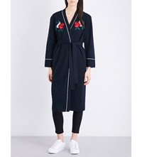 Moandco. Floral Embroidered Wool Cardigan Peacoat