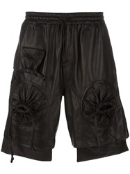 Ktz Round Gathered Leather Shorts Black