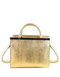 Christian Siriano Harlow Mini Vegan Leather Embossed Satchel Gold