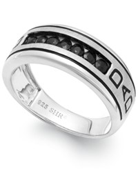 Macy's Men's Black Sapphire Engraved Dad Ring In Sterling Silver 3 4 Ct. T.W.