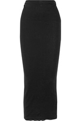 James Perse Ribbed Cotton And Cashmere Blend Maxi Skirt Black