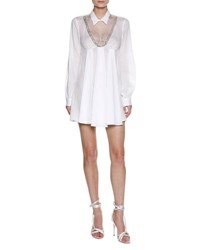Francesco Scognamiglio Lace Inset Babydoll Minidress With Beaded Trim White