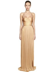Maria Lucia Hohan Pleated Silk Tulle And Lace Bustier Dress