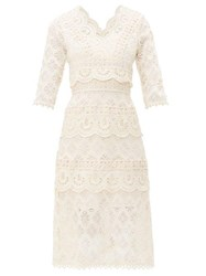Sea Laurel Tiered Guipure Lace Dress White