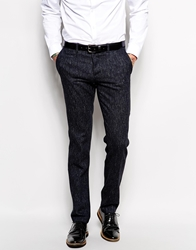 Sisley Wool And Denim Mix Neppy Suit Trousers In Slim Fit Navy