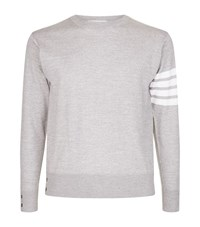 Thom Browne Crew Neck Knit Jumper Male Grey