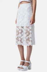Topshop Lace Pencil Skirt Cream