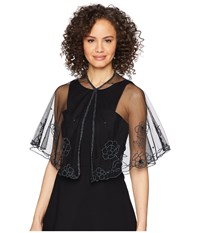 Betsey Johnson Beaded Floral Capelet Black Clothing