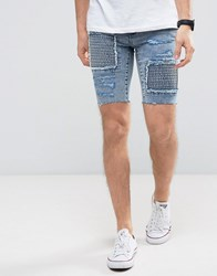 New Look Skinny Denim Shorts With Rips In Acid Wash Light Blue