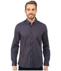 Kenneth Cole Sportswear Long Sleeve Button Down Collar One Pocket Stripe Black Combo Men's Long Sleeve Button Up