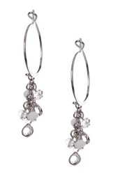 Spring Street Beaded Hoop Earrings Metallic