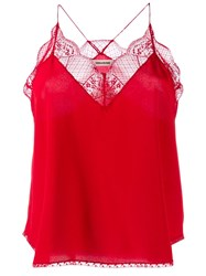 Zadig And Voltaire Lace Detail Camisole Top Red