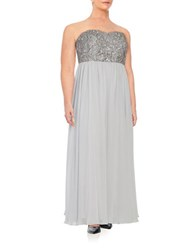 Decode 1.8 Embellished Strapless Gown Silver