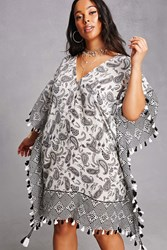 Forever 21 Plus Size Paisley Poncho Dress Black