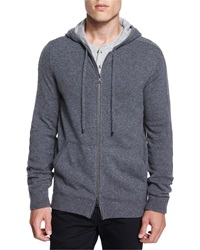 Vince Cashmere Full Zip Hoodie Light Gray