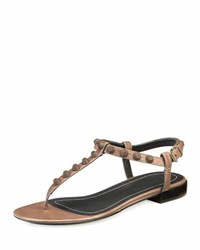 Balenciaga Studded Leather Flat T Strap Sandal Gris Asphalte Charcoal