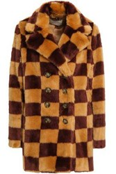 Marco De Vincenzo Woman Double Breasted Checked Faux Fur Coat Sand