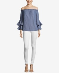 Eci Cotton Off The Shoulder Ruffle Sleeve Top Blue White